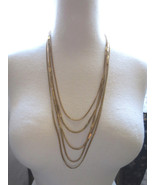 Vintage Monet Necklace Gold Plated 5 Multi Chai... - $39.59