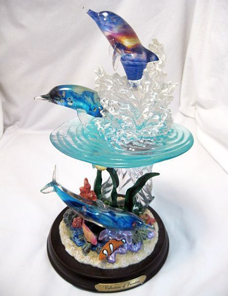Christian Lassen Dolphin and Ocean Sculpture, Reflection Of Paradise