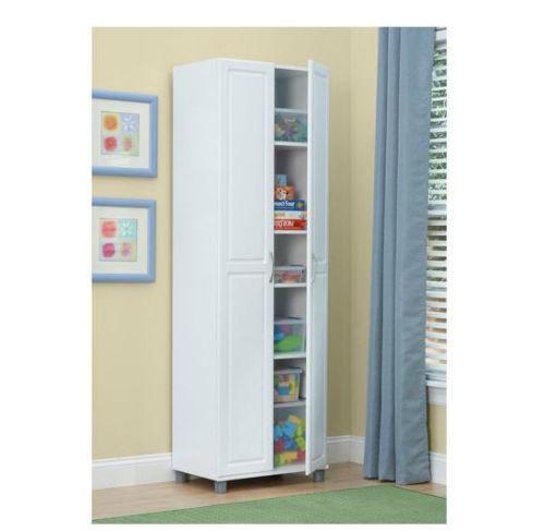 Door Tall White Utility Storage Cabinet Garage Kitchen Office Pantry
