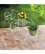 White Plant Stand Indoor Outdoor French Flower Pot Metal Cart Rack Shelf - $47.00
