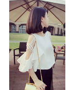 White Off The Shoulder Butterfly Sleeves Chiffo... - $41.90