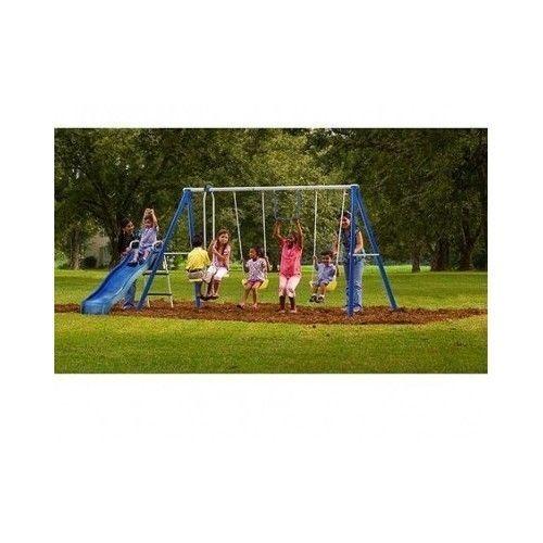 metal swing set cheap swingset slide playground kids backyard playset