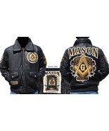 Masonic Leather Jacket Freemason Masonic Mason ... - $261.72 - $275.50