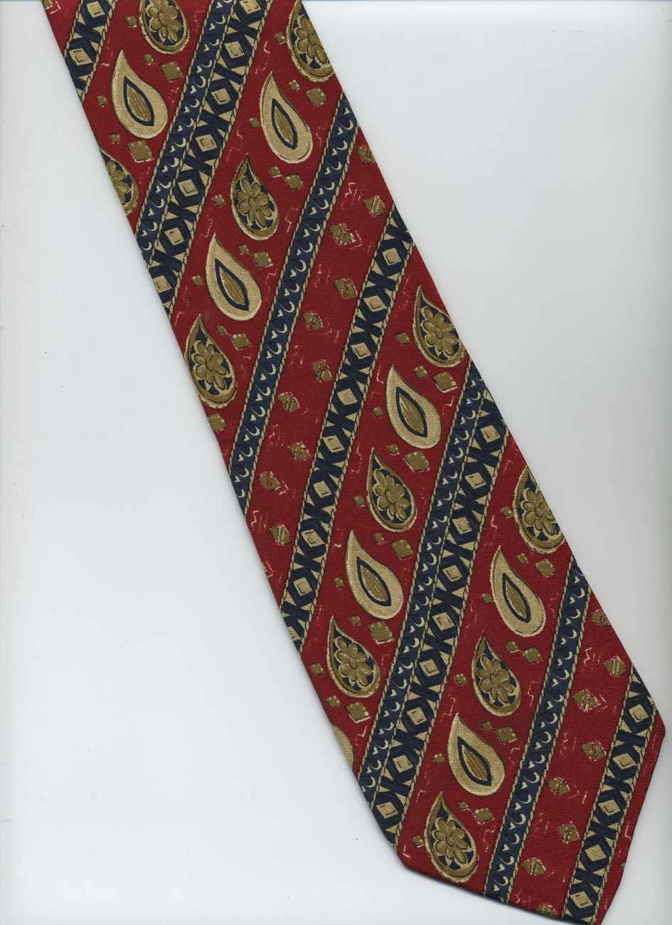 "Extra Long 62"" A.K.A EDDIE BAUER Tie ~ Red, Blue, Beige ~ Striped Silk Tie"