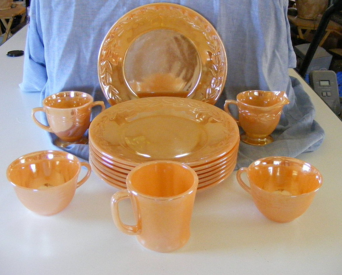 Fire King Peach Lustre Dinnerware, mixed lot