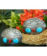 Southwestern Silver Earrings Oval Turquoise Red... - $19.95