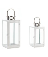 2 Candle Lanterns White Frame Glass Panels - $42.00
