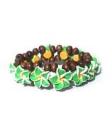 Hawaiian Style Stretch Wood Beads Polymer Green... - $7.91