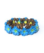Hawaiian Style Stretch Wood Beads Polymer Blue ... - $7.91