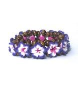 Hawaiian Style Stretch Wood Beads Polymer Purpl... - $7.91