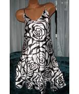White Black Rose Outline Chemise Short Gown 1X ... - $12.50