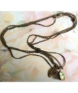 Abalone Shell Necklace 3 Chains Bronze Finish 1... - $10.00