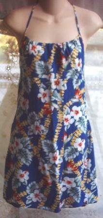 Womens Halter Dress sz M Blue Floral Print New Aqua Blues retro summer clothing