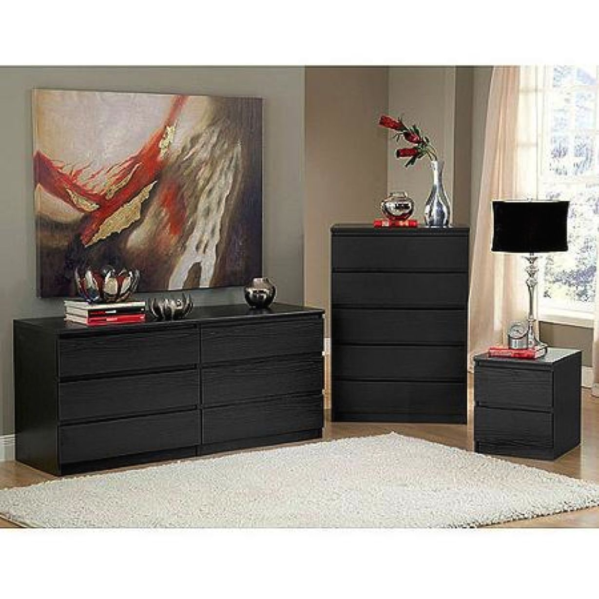 piece dresser nightstand chest of drawers black modern bedroom sets