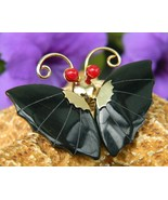 Vintage Black Onyx Butterfly Sculpted Pin Brooc... - $15.95