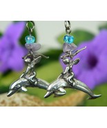 Angel Riding Dolphin Sterling Silver Earrings D... - $22.95
