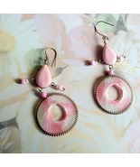 Pink and White Threaded and Beaded French Hook ... - $10.00