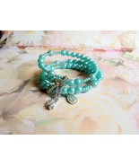 Vintage Turquoise Beaded Memory Bracelet Cross ... - $10.00