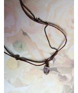 Lavender Drop Bead Necklace 2 Chains Bronze Fin... - $10.00