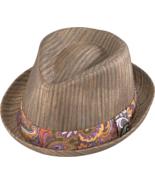 Henschel Straw High Roller Fedora Wood Tone Pai... - $43.00