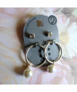 Silver Earring Set 4mm Pearl Hoop and CZ Stud   - $4.00