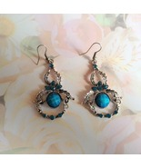 Tibetian Silver Chandelier Earrings Blue Facete... - $12.50