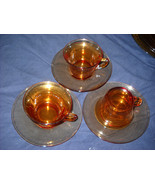 Cambridge Amber PLAIN Depression Glass Cup & Sa... - $9.99