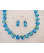 Tear Drop Aqua Glass  Necklace Earrings Handmade - $33.99