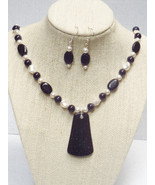 Blue Goldstone Swarovski Pendant Necklace Earri... - $53.99