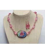 Pink Multi Color Pendant  Enamel Necklace Earri... - $54.99