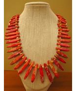 Orange Imperial Jasper Stick Necklace Handmade - $44.99