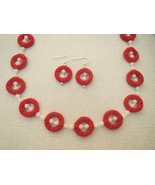 Red Cinnabar White Swarovski Necklace Earrings - $54.99