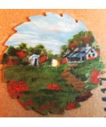 Mini Summer Cabin Hand Painted Oils Sawblade Fr... - $18.75