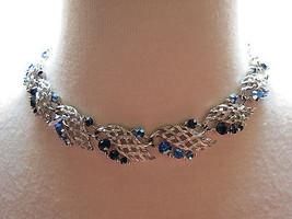 VTG Lisner Blue AB Rhinestone Necklace Silver L... - $44.54