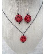Red Black Cinnabar Pendant Earrings Swarovski H... - $17.45
