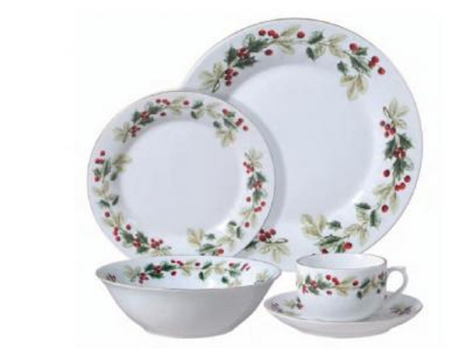 Holiday classy hollies and berries 20 piece dinnerware set dinner