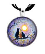 Black Cat Kitten Siamese Autumn Moon Purple Tre... - $32.99