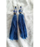 Handmade Blue Jeweled Tassels 5 1/4 inches long - $7.00