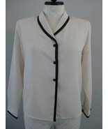 Worthington Lds Bk And White Long Sleeve Blouse... - $12.00