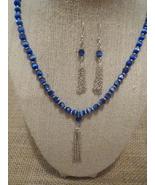 Silver Tassel Royal Blue Cats Eye Necklace Earr... - $38.99