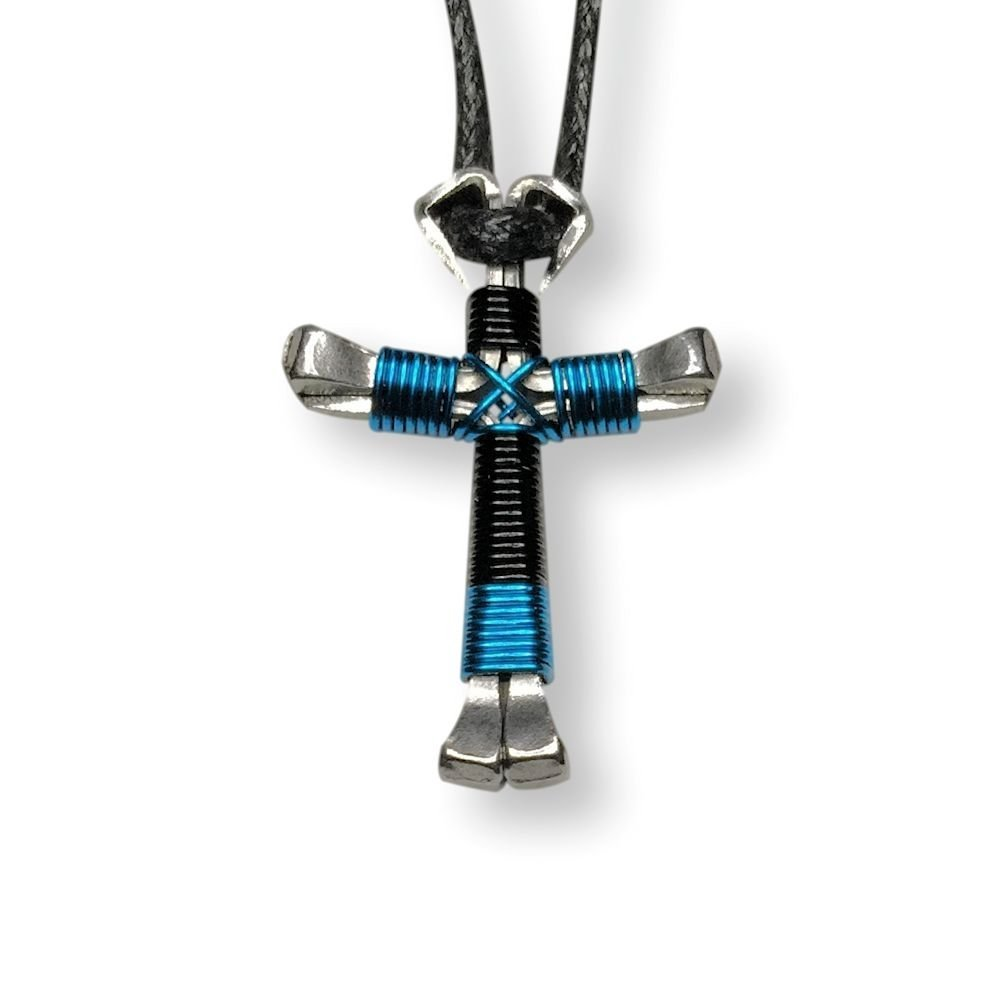 Black amp peacock blue horseshoe nail cross necklace handcrafted cross