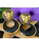 Vintage Lion Head Face Door Knocker Earrings En... - $34.95