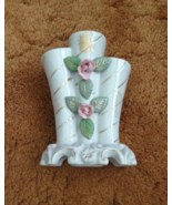 Vintage Bud Vase White Ceramic Roses Narrow Mou... - $7.50