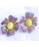 Wild purple w yellow Enamel Flower earrings cli... - $7.00