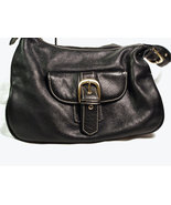Black Leather Handbag Front Buckle Nice and Cle... - $35.00