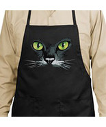 Black Cat Green Eyes New Apron, Cooks, Bartende... - $19.99