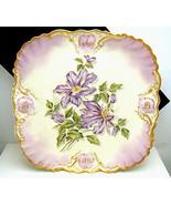Antique D&C Limoges HP Iris Large Square Plate ... - $346.49