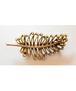Beautiful swirl vintage leaf brooch pin with pe... - $12.98