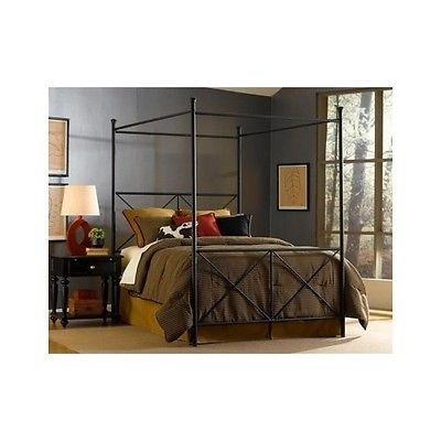 King canopy metal wrought iron style poster bed black for Wrought iron four poster bed frames