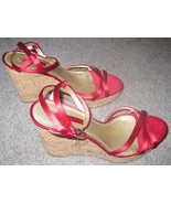 Nine West Red Strappy Wedges Women's Size 8.5 Cork Heel 4.5